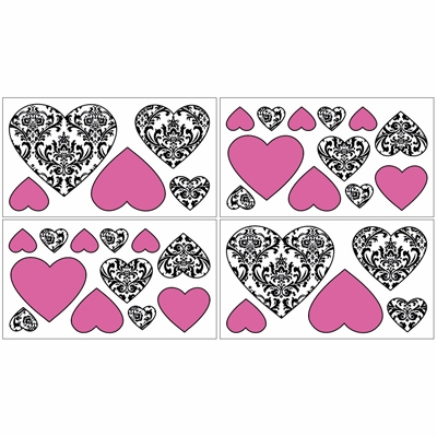 Isabella Hot Pink, Black and White Collection Wall Decals - Set of 4 Sheets