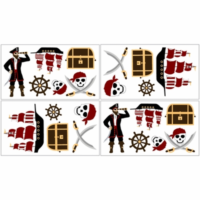 Pirate Treasure Cove Wall Decals - Set of 4 Sheets