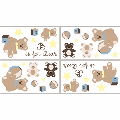 Teddy Bear Chocolate Wall Decals - Set of 4 Sheets