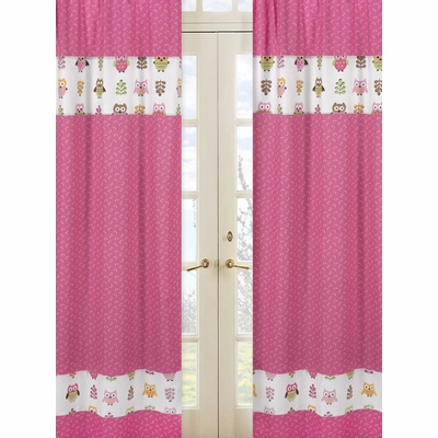 Owl Pink Window Panels - Set of 2