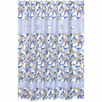 Camo Blue Shower Curtain