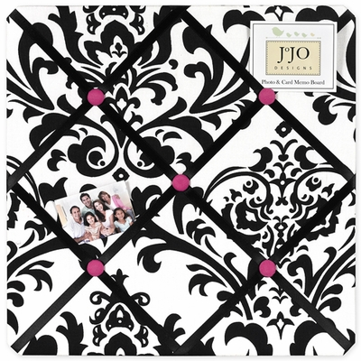 Isabella Hot Pink, Black and White Collection Fabric Memo Board