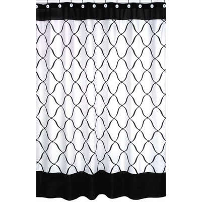 Princess Black, White and Green Collection Shower Curtain