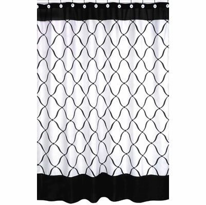 Princess Black, White and Purple Collection Shower Curtain
