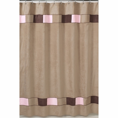 Soho Pink and Brown Shower Curtain