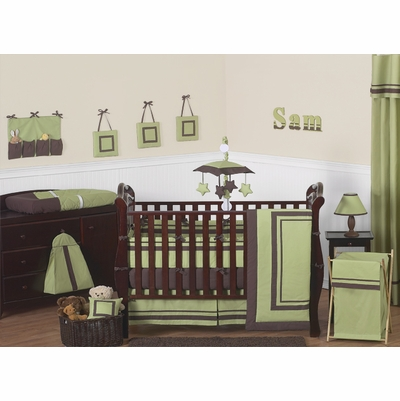 Hotel Green and Brown Crib Bedding Collection