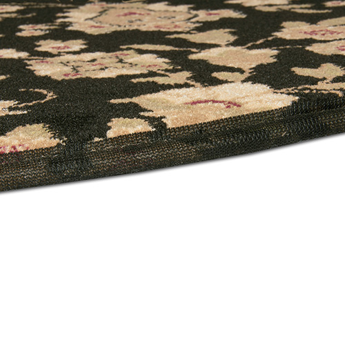 Goods Of The Woods Floral Black Half Round Hearth Rug 27