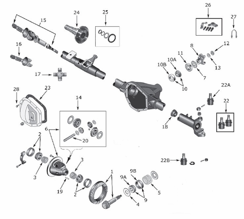 Dana 44 Front Axle & Differential Parts