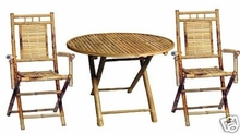 Table Set 3 Pc. Round Bamboo Patio Chairs