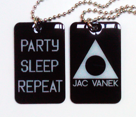 PARTY SLEEP REPEAT DOGTAG NECKLACE