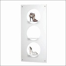 "Shoe Display Panel [AP-7-14-WV-360-SH] 27.5"" x 55"" with 3 round shelves"