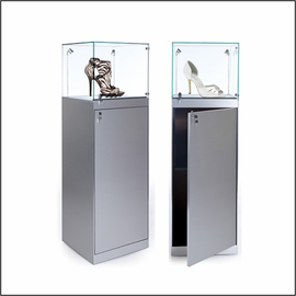 GL112TG-20 Square Pedestal Showcase with Glass Top for Shoes