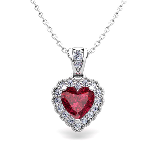 Milgrain Diamond And Garnet Heart Necklace In 14k Gold Pendant