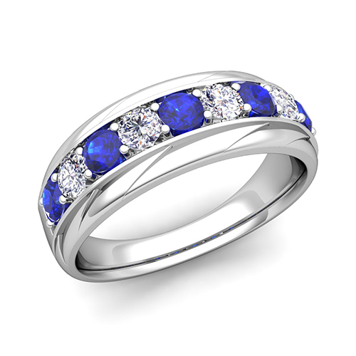 My Love Diamond And Sapphire Mens Wedding Band Ring In