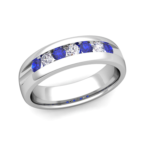 mens wedding band in platinum channel set diamond sapphire ring - Mens Sapphire Wedding Rings