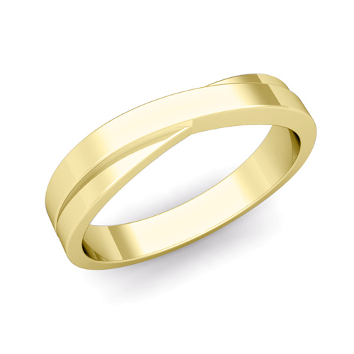 infinity wedding band in 18k gold mens comfort fit ring 4mm - Infinity Wedding Ring