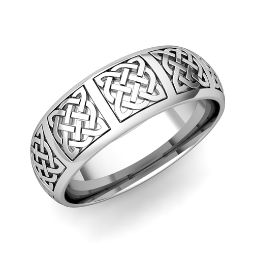 mens celtic knot wedding band in 14k gold comfort fit ring 7mm - Mens Celtic Wedding Rings