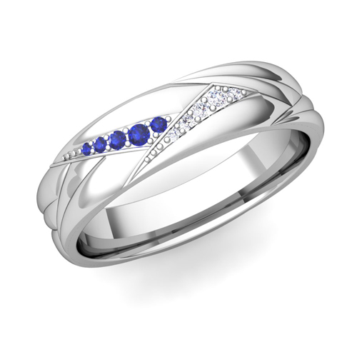 wave mens wedding band in platinum sapphire ring