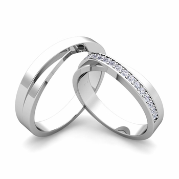 matching wedding bands infinity diamond wedding ring set in platinum - Matching Wedding Rings For Him And Her