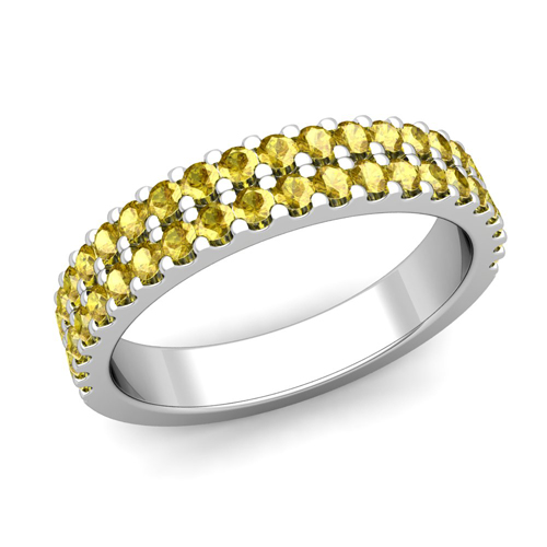 Two Row Diamond and Yellow Sapphire Wedding Ring Band in 14k Gold