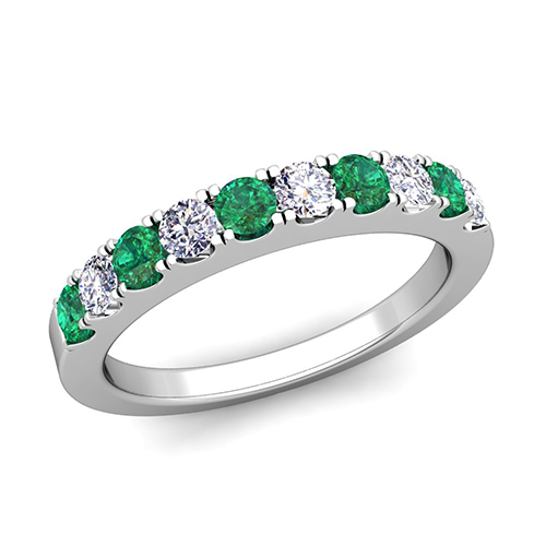 brilliant pave diamond and emerald wedding ring band in platinum