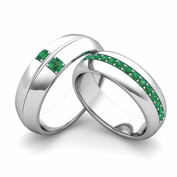 my his hers matching emerald wedding bands in platinum