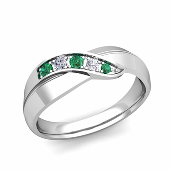 infinity emerald and diamond wedding ring in 14k gold mens wedding band 6mm - Customize Wedding Ring