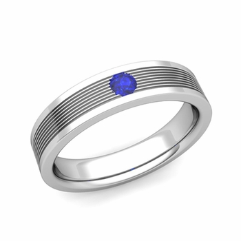 Solitaire Sapphire Mens Wedding Band In Platinum Comfort Fit Ring 5mm