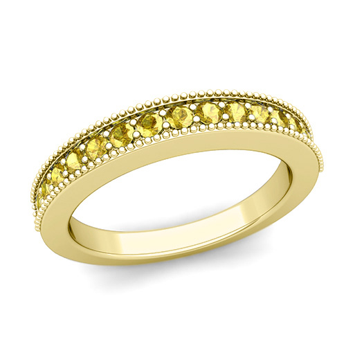 Milgrain Petite Yellow Sapphire Wedding Ring Band in 18k Gold