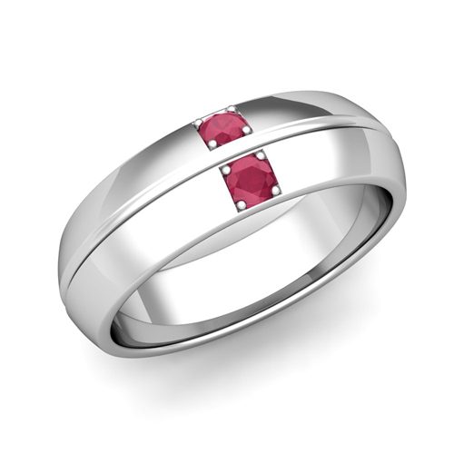 Mens Comfort Fit Ruby Wedding Band Ring In 14k Gold 6mm