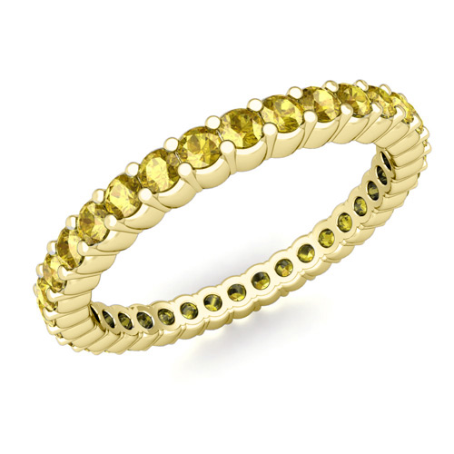Petite Pave Yellow Sapphire Eternity Ring in 18k Gold