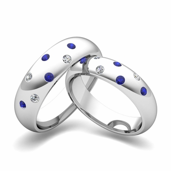matching wedding bands scattered diamond and sapphire wedding ring in platinum - Create Your Own Wedding Ring