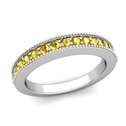 Milgrain Petite Yellow Sapphire Wedding Ring Band in Platinum