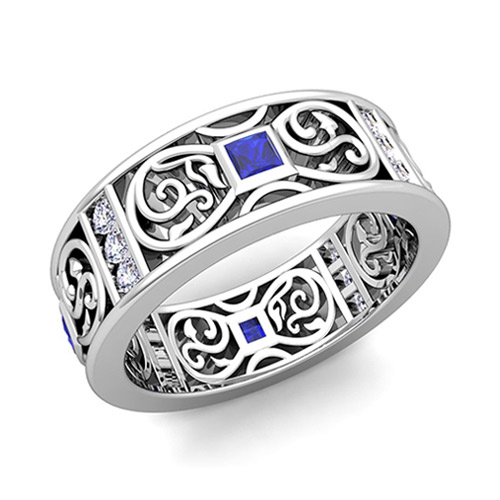 Princess Cut Celtic Sapphire Wedding Band Ring for Men in 14k Gold
