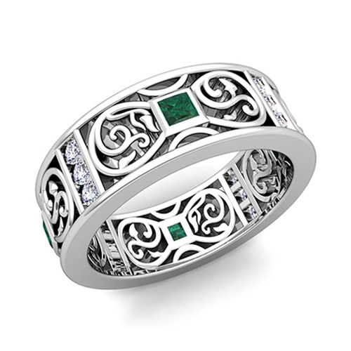 Princess Cut Celtic Emerald Wedding Band Ring For Men In