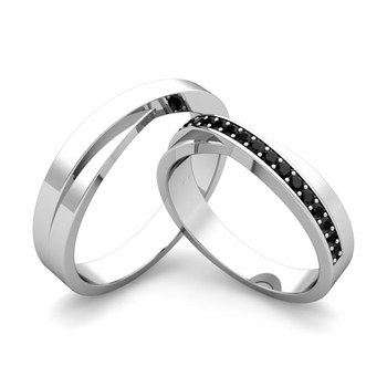 matching wedding bands infinity black diamond wedding ring set in platinum - Black Diamond Wedding Ring Set