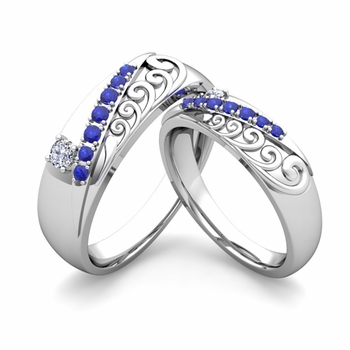 matching wedding band in 14k gold unique diamond and sapphire wedding rings - Unique Wedding Rings For Her