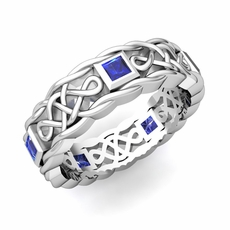 Princess Cut Sapphire Ring In 14k Gold Celtic Knot Wedding Band 5mm113500