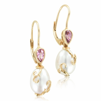 Filigree Pink Tourmaline and Pearl Drop Earrings in 14k Rose Gold (7.5-8mm)