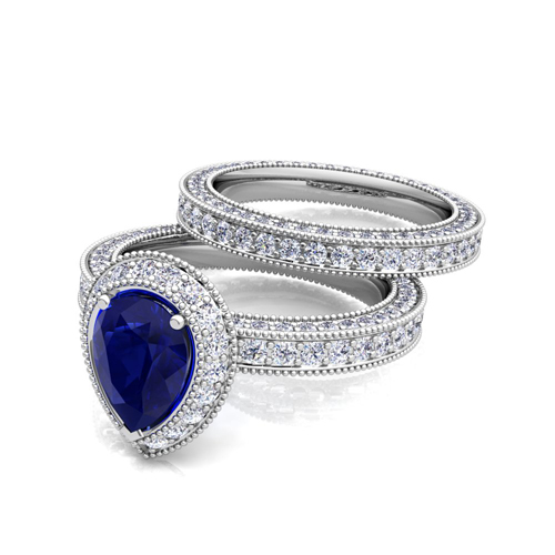 Milgrain Pear Shaped Sapphire Engagement Ring Bridal Set in 18k Gold, 8x6mm