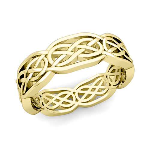 Celtic Knot Wedding Band In 18k Gold Comfort Fit Ring 62mm