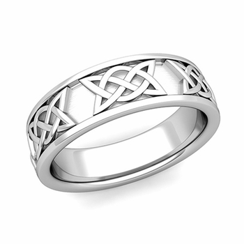 Legacy Celtic Knot Wedding Band In Platinum Comfort Fit Ring 65mm