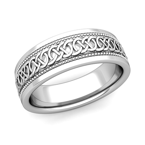 Celtic Knot Wedding Band In 18k Gold Milgrain Comfort Fit Ring 7mm