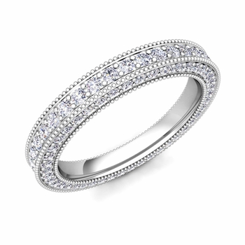milgrain diamond wedding eternity band ring in 14k gold