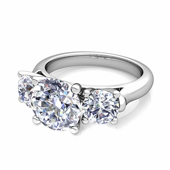 3 Stone Ring Setting In Platinum Without Diamonds Setting Only