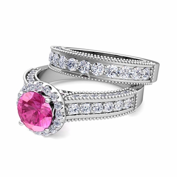 Bridal Set of Heirloom Diamond and Pink Sapphire Engagement Wedding Ring in Platinum, 5mm