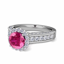 Heirloom Diamond and Pink Sapphire Engagement Ring in Platinum, 5mm