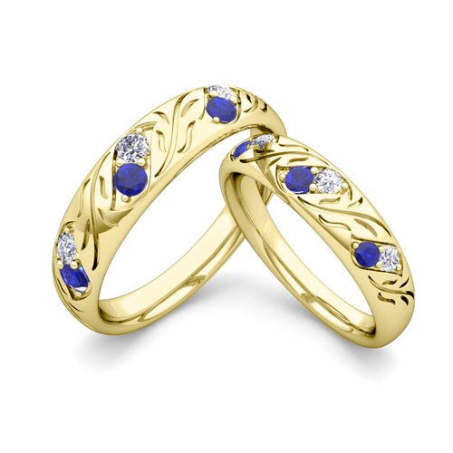 His And Hers Matching Wedding Band In 18k Gold Diamond