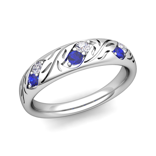 Carved 14K leaf wedding band with sapphires and diamonds