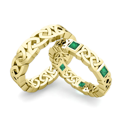 His Hers Wedding Band 18k Gold Princess Cut Emerald